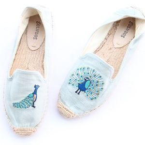 Soludos Blue Peacock Embroidered Espadrilles Flats